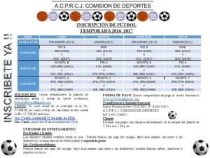 INSCRIPCIÓN FUTBOL 2016